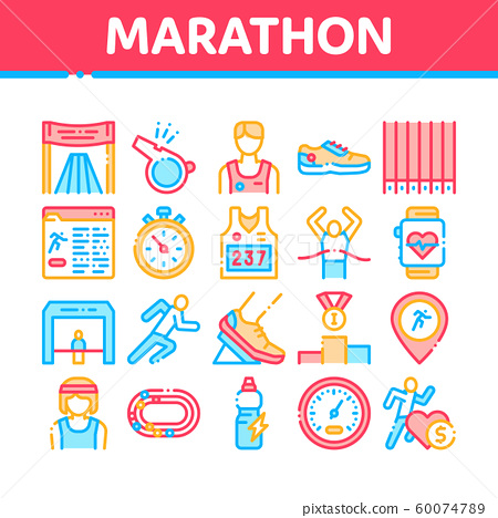 Marathon Collection Elements Icons Set Vector 60074789