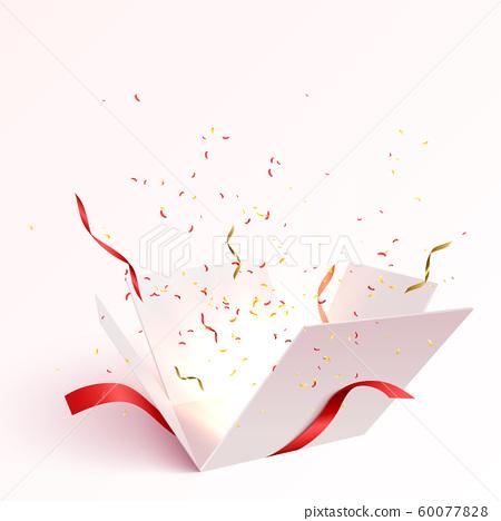 Open gift box with confetti 60077828
