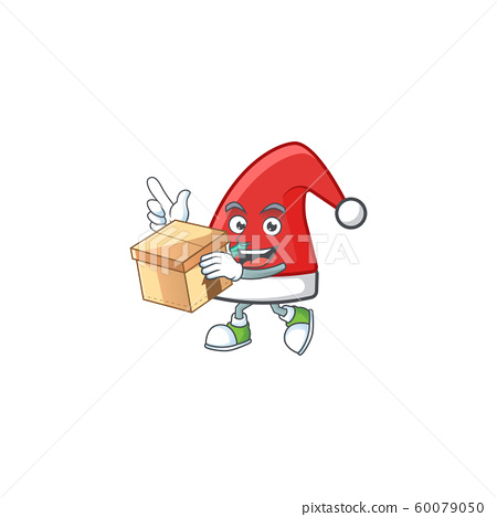 With box Super Funny santa claus hat cartoon character style 60079050