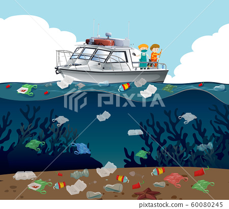 Water pollution poster with trash in the ocean 60080245