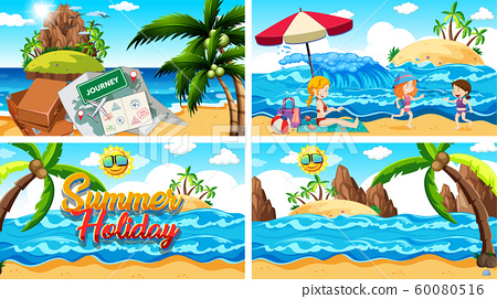 Four background scenes with summer on the beach 60080516