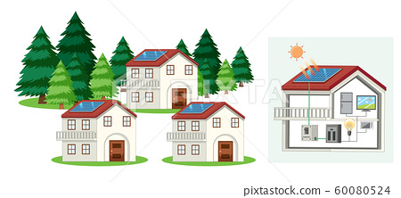 Houses with solar cell on the roof 60080524