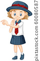 One happy girl in school uniform 60080587
