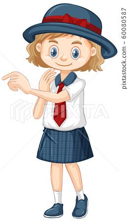One happy girl in school uniform 60080587