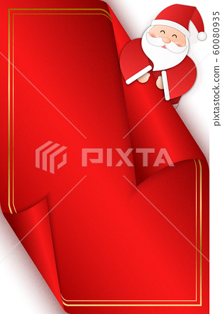 Relief paper art of Santa Claus pop from the back of a greeting card. Merry Christmas and happy new year vector clip illustration. 60080935