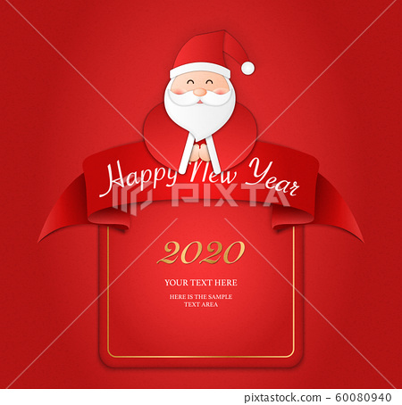 Relief paper art of Santa Claus and ribbon banner template. Merry Christmas and happy new year vector clip illustration. 60080940