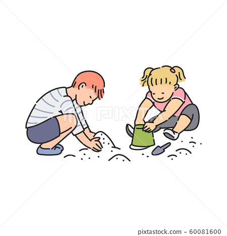 Preschool age children playing in sandbox, sketch vector illustration isolated. 60081600