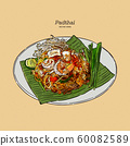 Noodle padthai food thailand in the dish. hand 60082589