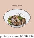 Thai stlye noodle blood soup serve with pork ball 60082594