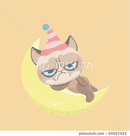 Cute grumpy cat. Vector Illustration.. 60082988