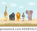 Set of African animals in the jungle. Flat cartoon animals design.  60085923