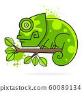 Chameleon On A Branch , Vector Illustration. 60089134