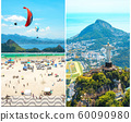Creative collage inspired by view of Rio de Janeiro with Christ Redeemer and Corcovado Mountain 60090980