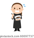 Illustration of female chocolatier by occupation. A woman who sweats and panics. 60097737