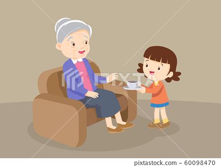 Granddaughter served drinks to grandmother 60098470
