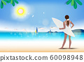 Summer beach girl on vacation  and freedom concept 60098948