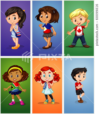 Six children on different backgrounds 60099816