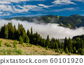 Misty dawn in the mountains in summer. 60101920