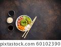 Hawaiian poke bowl with salmon, rice and vegetable 60102390