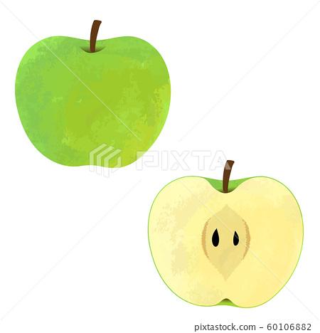 兩種蘋果的插圖,整個和一半(綠色) 60106882