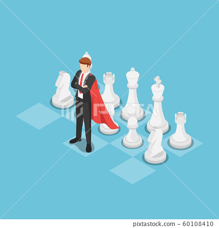 Isometric super businessman as a leader on chess 60108410