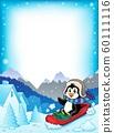 Penguin on bobsleigh theme frame 1 60111116
