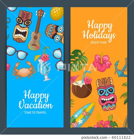 Vector cartoon summer travel web banner templates illustration 60111822
