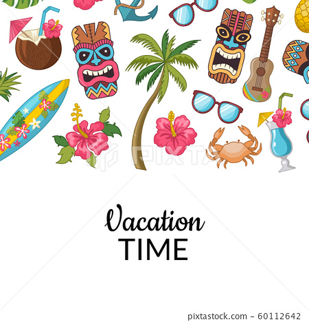 Vector cartoon summer travel elements background illustration 60112642