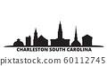 United States, Charleston South Carolina city skyline isolated vector illustration. United States, Charleston South Carolina travel black cityscape 60112745
