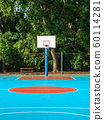 Empty field with basketball stand 60114281