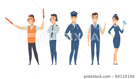 Pilots. Avia company persons crew pilots stewardess airplane command civil aviation vector characters in cartoon style 60116198