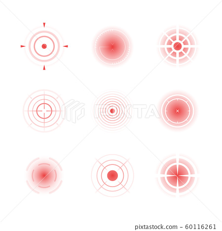 Radial red shapes. Migraine aiming bones painful target concentric pain vector abstract rings 60116261