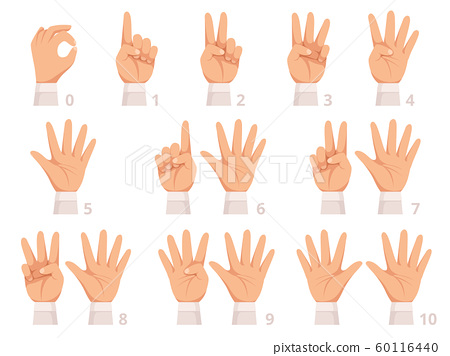 Hands gesture numbers. Human palm and fingers show different numbers vector cartoon illustration 60116440