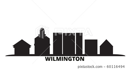 United States, Wilmington city skyline isolated vector illustration. United States, Wilmington travel black cityscape 60116494