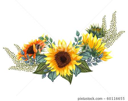 Beautiful floral collection with sunflowers,leaves,branches,fern leaves. Bright watercolor bouquet. wedding,invitation,template card,Birthday. Sunflowers bouquet  60116655