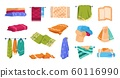 Bath towels. Beach and spa soft cotton towels in stack and rolled, hygiene and kitchen textile clothing for hands. Vector set 60116990