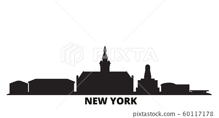 United States, New York Buffalo city skyline isolated vector illustration. United States, New York Buffalo travel black cityscape 60117178