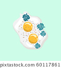 Egg protein and yolk isolated on white background. 60117861