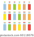 Set of glass flasks and bottles with a multi-colored liquid. On a white background. Isolate. 60118076