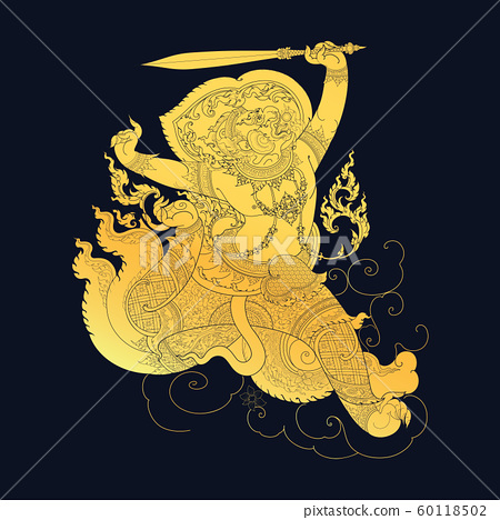 Traditional Thai Art in Ramayana Story, style 60118502