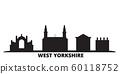 United Kingdom, West Yorkshire city skyline isolated vector illustration. United Kingdom, West Yorkshire travel black cityscape 60118752