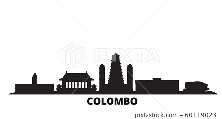 Sri Lanka, Colombo city skyline isolated vector illustration. Sri Lanka, Colombo travel black cityscape 60119023