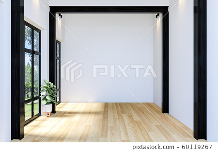 Interior of Modern Empty Hall Open Space with Large Window and Hardwood Floor, 3D Rendering 60119267