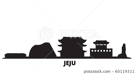 South Korea, Jeju city skyline isolated vector illustration. South Korea, Jeju travel black cityscape 60119311