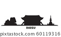 South Korea, Daegu city skyline isolated vector illustration. South Korea, Daegu travel black cityscape 60119316