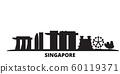 Singapore City city skyline isolated vector illustration. Singapore City travel black cityscape 60119371