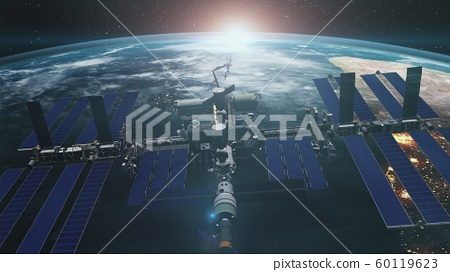 Close up of ISS orbiting realistic planet Earth 60119623