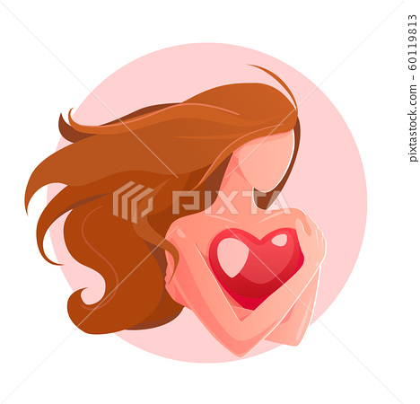 Love yourself concept. Girl Healthcare Vector illustration. Woman hugging herself with heart, white isolated background. lonely valentines greeting card. self-esteem mental health logo. 60119813