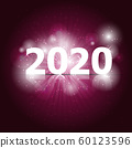 2020 Happy New Year on pink background 60123596