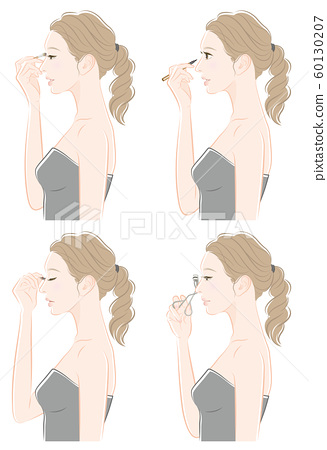 Illustration of a woman doing makeup 60130207